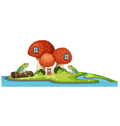frogs and mushroom house at the river vector image