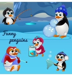 Funny penguins busy with different things vector image