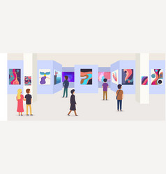Gallery modern art with visitors vector