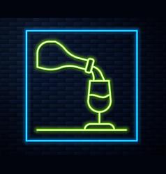 Glowing neon line wine tasting degustation icon vector