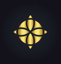 Gold geometry decoration flower logo vector