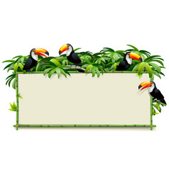 green bamboo board with toucans vector image