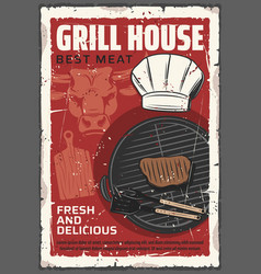 grilled beef steak barbecue fork bbq spatula vector image