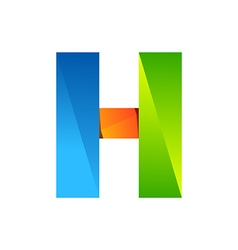H letter one line colorful logo design template vector