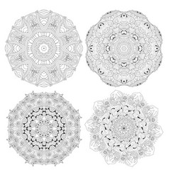 Hand drawn zentangle set of 4 mandalas for vector