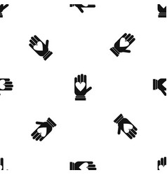 hand with heart pattern seamless black vector image