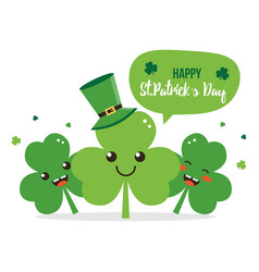 happy st patricks day shamrock cartoon characters vector image
