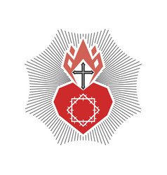 Heart christ and flame spirit vector