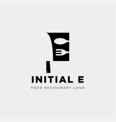 Initial e food equipment simple logo template vector