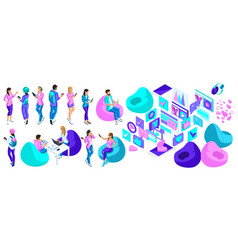 isometry set of characters people are teenagers vector image