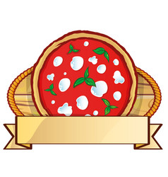 italian pizza logo with empty label banner space vector image