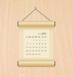 July2014 calendar on wood wall vector image