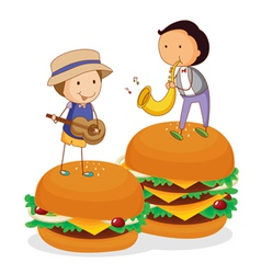 Kids and burger vector