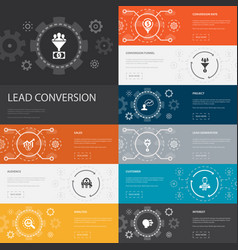 Lead conversion infographic 10 line icons banners vector