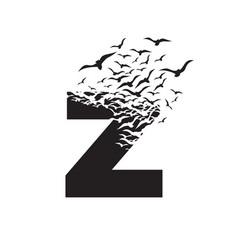 Letter z with effect destruction dispersion vector
