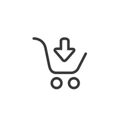 linear black shopping cart with black down arrow vector image