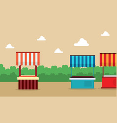 Lined street stall background landscape vector