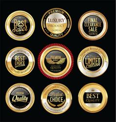 Luxury golden retro badges collection 11 vector