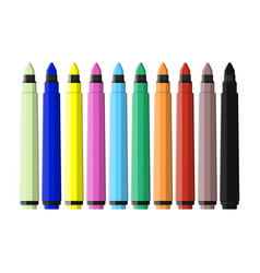 markers pen set of varioust color markers vector image