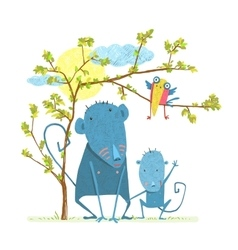 Monkey characters mother and child in wild vector