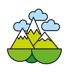 Mountains ice green icon vector