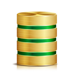 Network database disc icon realistic vector