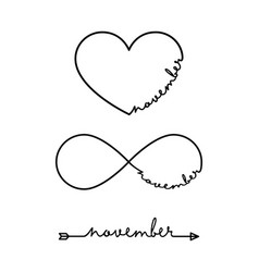 november - word with infinity symbol hand drawn vector image