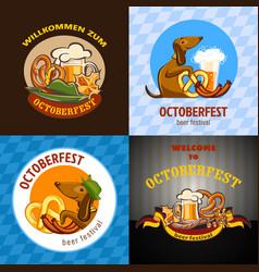 octoberfest beer banner concept cartoon style vector image