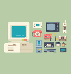 old school gadgets flat set vector image