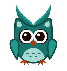 owl funny stylized icon symbol green colors vector image