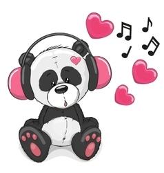 Panda with headphones vector
