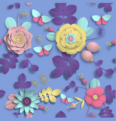 paper craft 3d wild rose flowers rosehip berries vector image