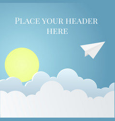 Paper style background with origami plane sky vector