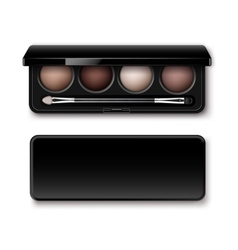 Pastel Brown Eye Shadows in Case with Makeup Brush vector