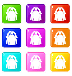 Princess dress icons 9 set vector