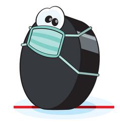 quarantine hockey puck character vector image