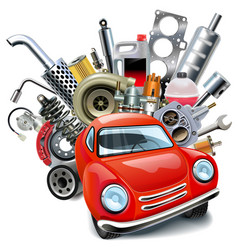 Red automobile with car spares vector