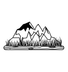 rocky mountain with snow icon image vector image