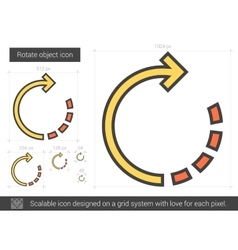 Rotate object line icon vector