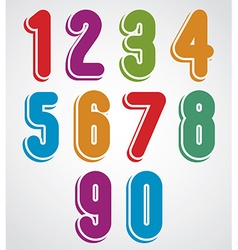 Rounded cartoon colorful jolly numbers with white vector