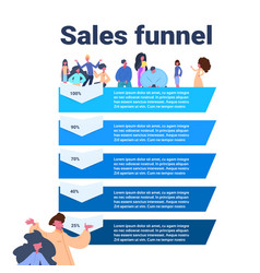 Sales funnel with people portrait stages business vector