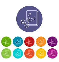 scissors paper icons set color vector image