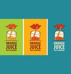 set banners for orange juice with lips and vector image
