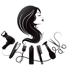 Silhouette a girl with curls and tools for vector