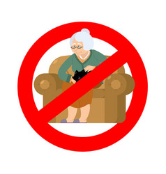 Stop grandmother ban old woman and cat red vector