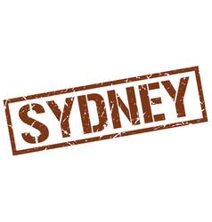 Sydney brown square stamp vector