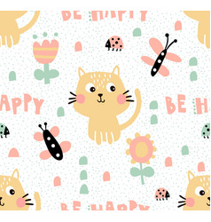 tender cat pattern vector image