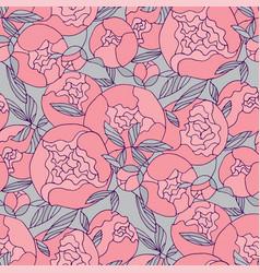 tender pink round peony flower seamless pattern vector image