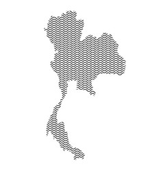 thailand map country abstract silhouette of wavy vector image
