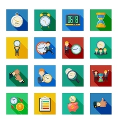 Time Management Flat Shadow Icons Set vector
